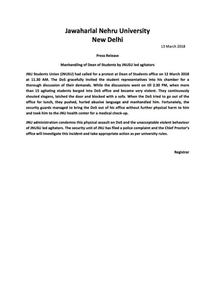 India Tv - The statement issued by JNU administration after scuffle