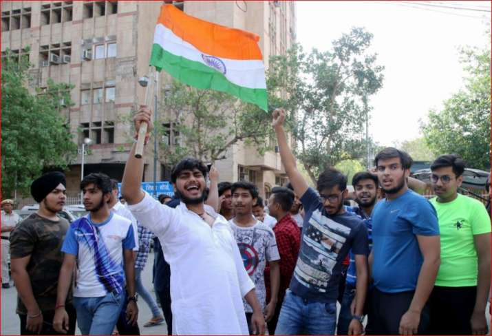India Tv - Students of Class 10 and 12 raise slogans in protest against the CBSE paper leak, in New Delhi on Friday