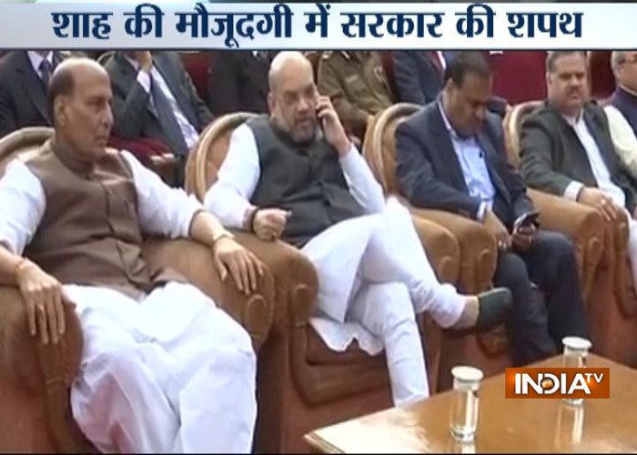 India Tv - Union Minister Rajnath Singh and BJP president Amit Shah