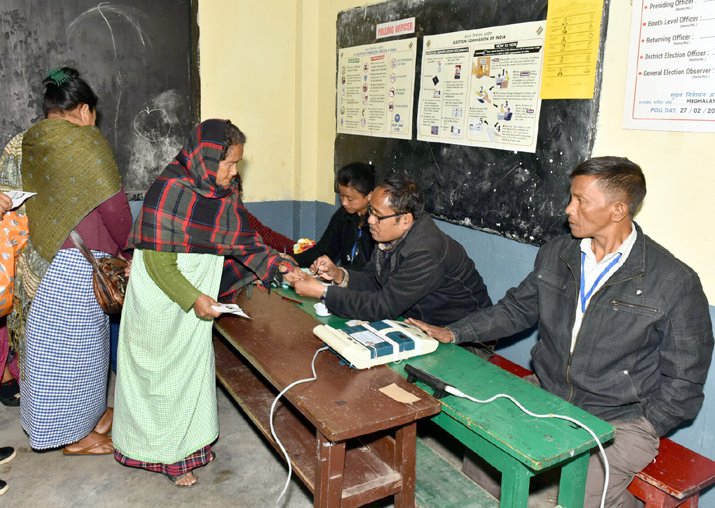 India Tv - A polling official administers phosphoric ink to a voter at a polling booth during Meghalaya Assembly elections in Shillong on Feb 27, 2018.