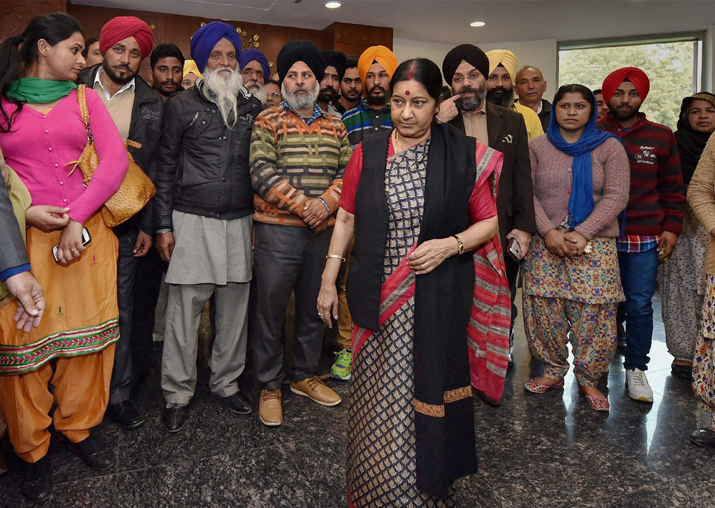 In this file photo dated 7 Feb, 2016, Sushma Swaraj meets
