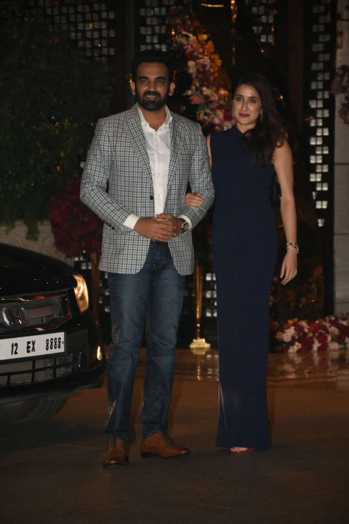 India Tv - Newly weds Sagarika Ghatge and cricketer Zaheer Khan too attended the party thrown by 'to-be' couple Akash and Shloka