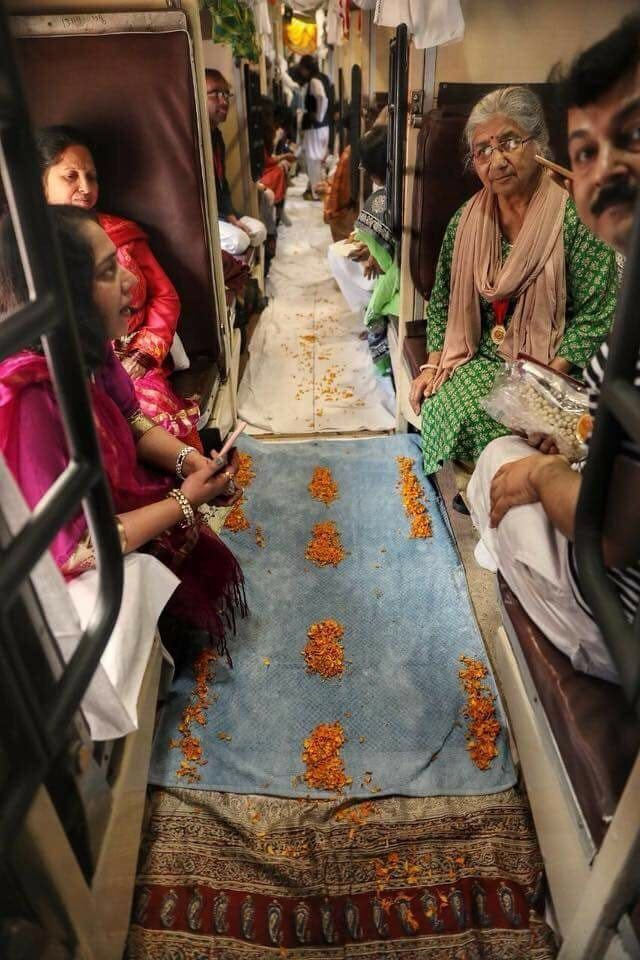 India Tv - Train coach was decorated with flowers to celebrated the union of the couple