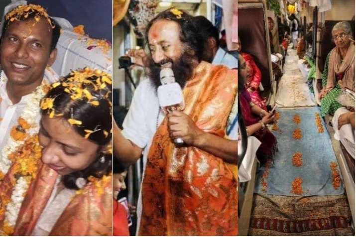 In a first, couple ties knot on train as Sri Sri Ravi
