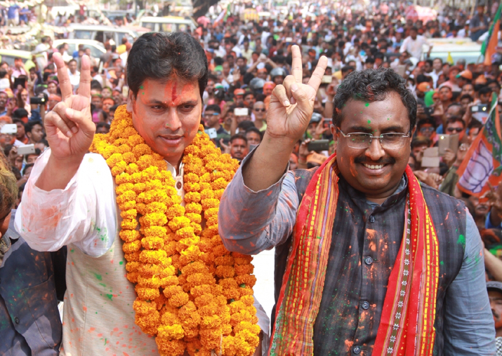 Tripura BJP president Biplab Kumar Deb along with the