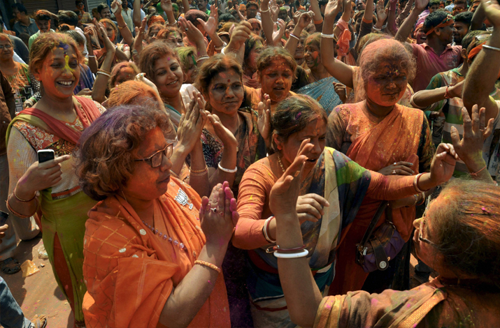 India Tv - BJP supporters celebrate party's victory in Tripura Assembly elections in Dharmanagar on Saturday.