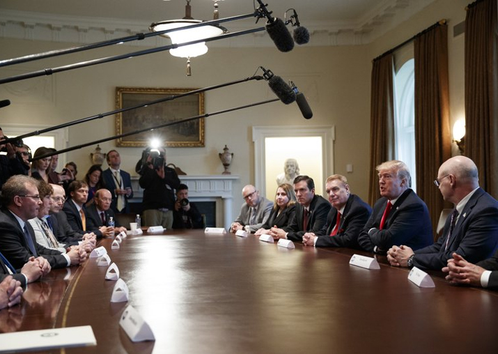 India Tv - President Donald Trump speaks during a meeting with steel and aluminum executives in the Cabinet Room of the White House, Thursday, March 1, 2018, in Washington.