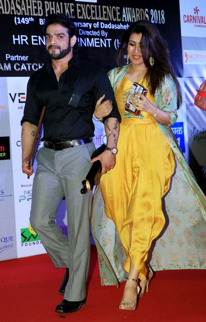 India Tv - Karan Patel and Ankita Bhargava at Dadasaheb Phalke Awards 2018