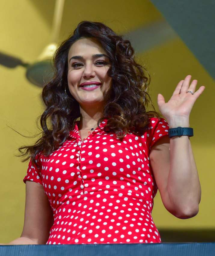India Tv - KXIP owner Preity Zinta cheers for the players in their first away game