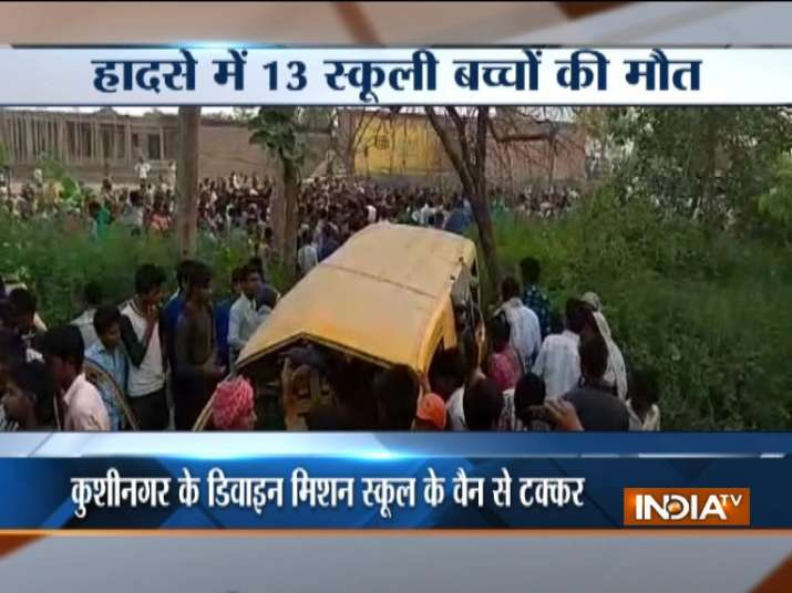 The driver of the school van reportedly had earphones on