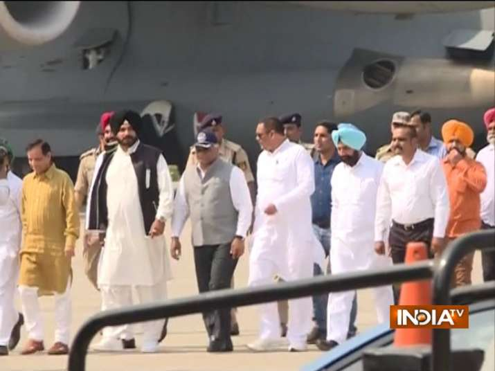 Gen V K Singh arrive at Amritsar carrying bodies of 38