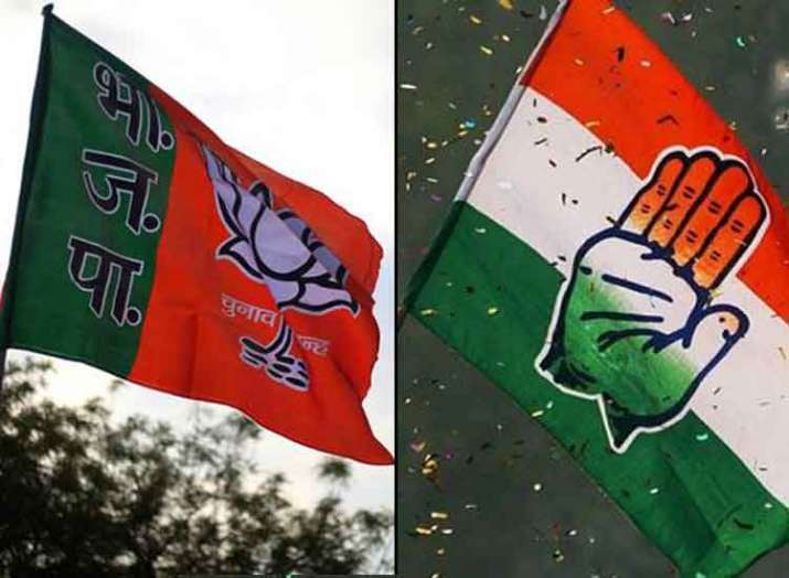 Flags of BJP and Congress