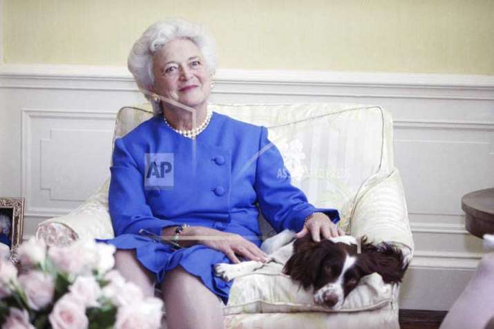 In this 1990 file photo, first lady Barbara Bush poses with