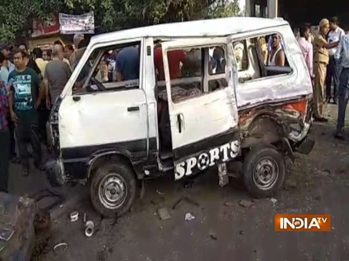 India Tv - The school van was carrying children from two schools in Keshavpuram,northwest Delhi.