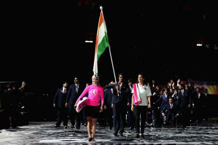 India Tv - PV Sindhu led the way for India in the opening ceremony of the CWG 2018.