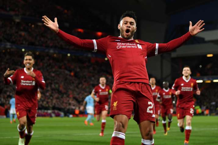 India Tv - Ox scored 11 minutes after Salah gave Liverpool the lead.