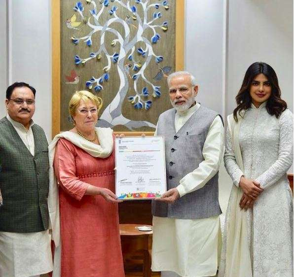 Priyanka Chopra meets PM Narendra Modi in Delhi, invites him for