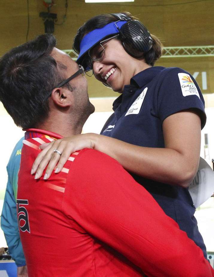 India Tv - The shooting couple celebrates the medal glory at the Belmont Shooting Centre