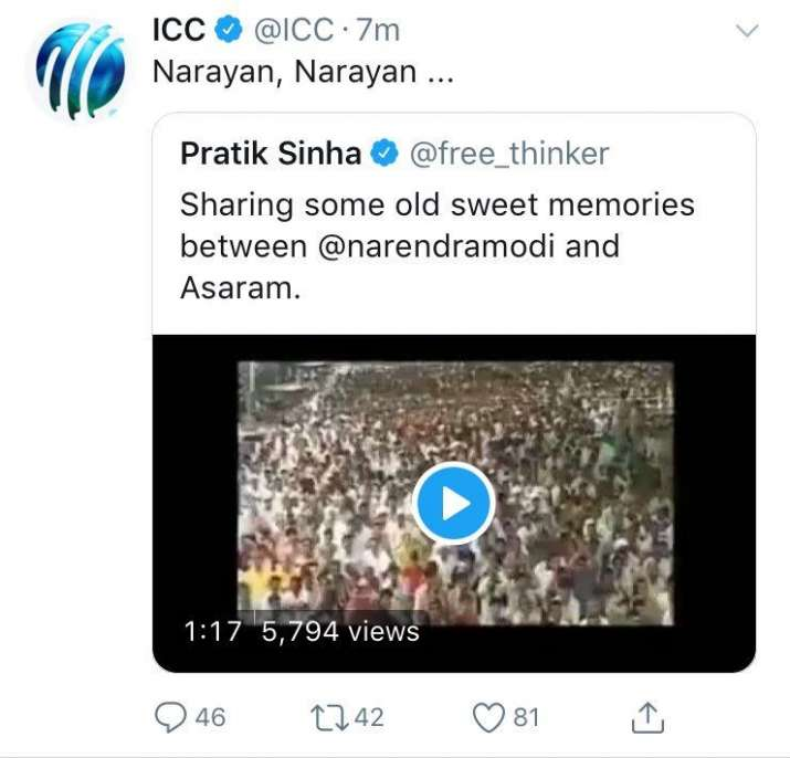India Tv - ICC's tweet on PM Modi and Asaram
