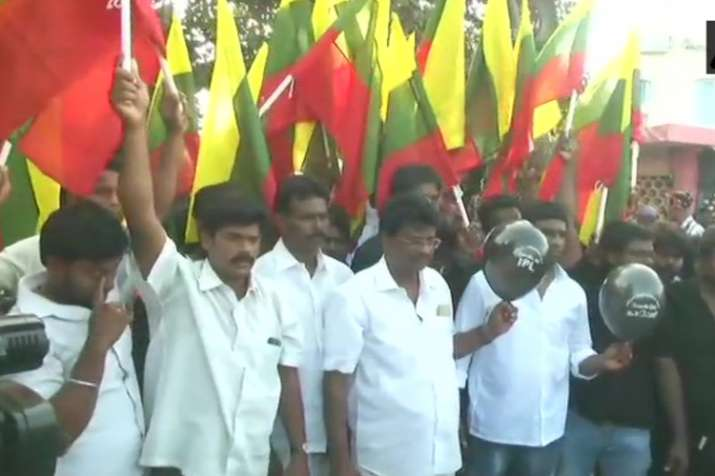 TVK workers protest outside M A Chidambaram Stadium ahead
