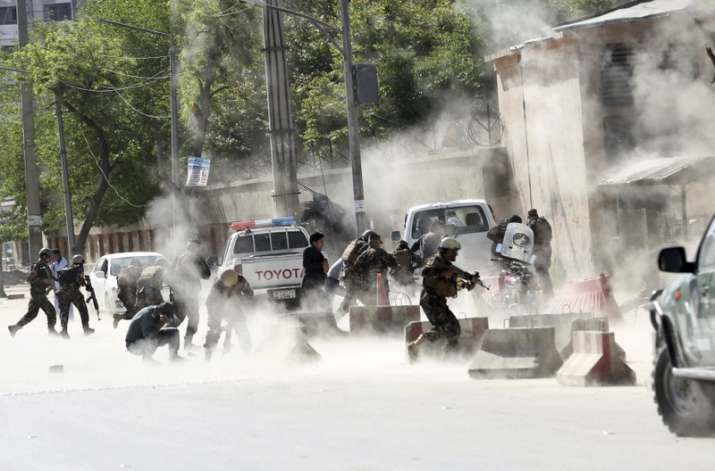 India Tv - At least 45 people were wounded in the twin attacks, Kabul police said. (AP Photo)