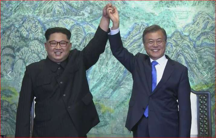 North Korean leader Kim Jong Un with South Korean President