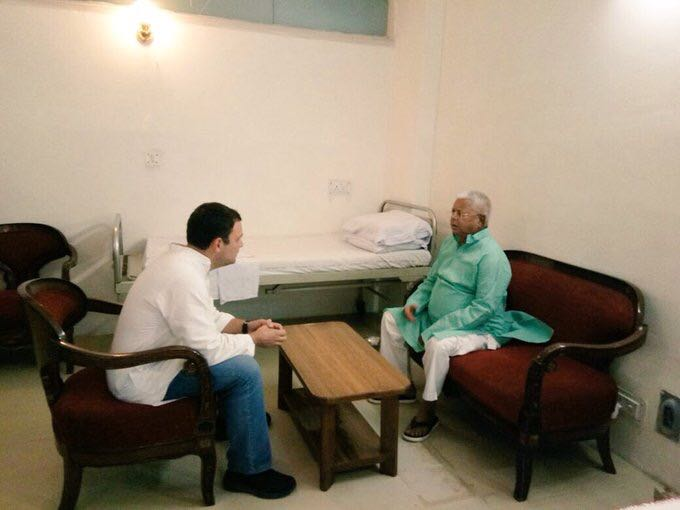 Rahul Gandhi meets Lalu Yadav at AIIMS