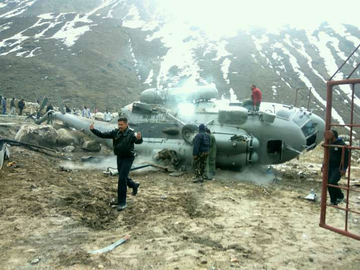 Mi-17 helicopter catches fire