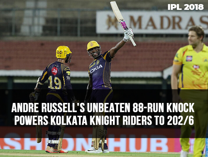 India Tv - Russell's unbeaten 88-run knock powers KKR to 202/6