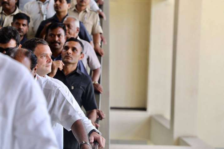 India Tv - Rahul Gandhi walks up to board a metro, heavily guarded by security personnel in Bengaluru