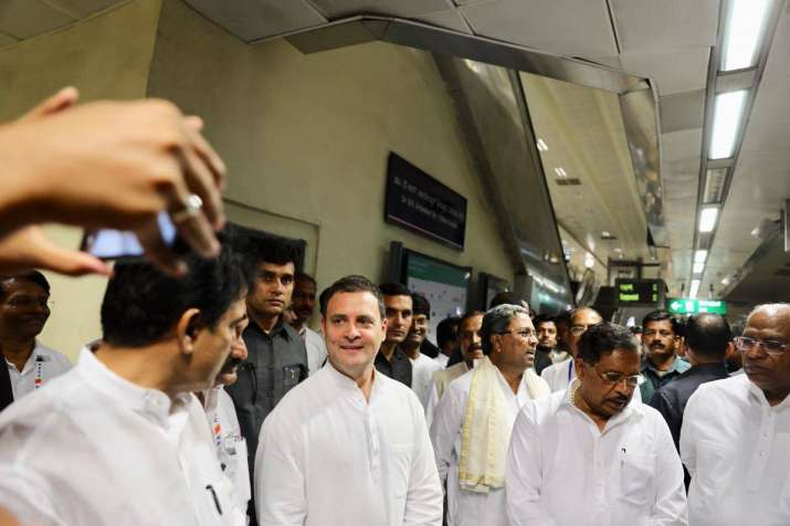India Tv - Rahul Gandhi interacting with partymen during his metro tour in Bengaluru.