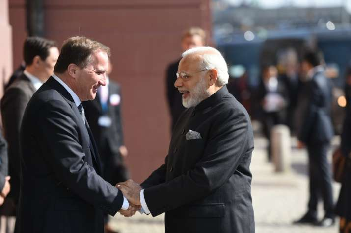PM Modi with Swedish counterpart Stefan Lofven