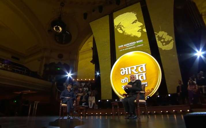 India Tv - PM Modi during Bharat Ki Baat Sabke Saath event in London.