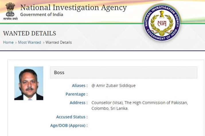 India Tv - Former Pakistani diplomat Amir Zubair Siddiqui put on NIA's 'wanted' list