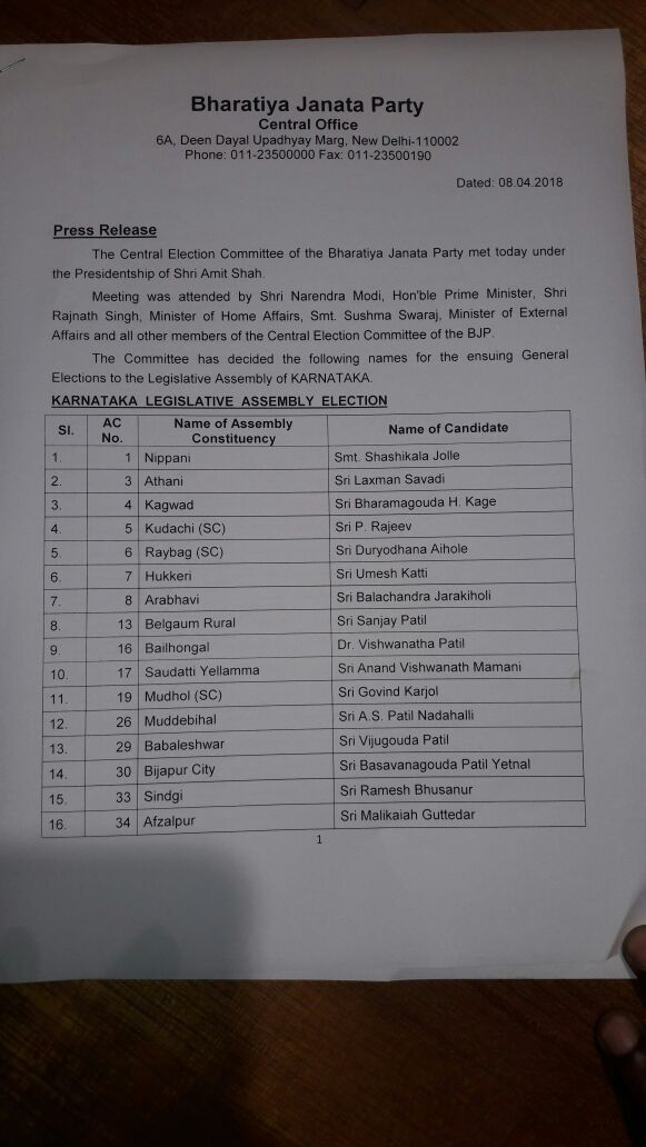 India Tv - First list of 72 BJP candidates