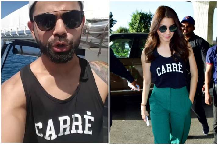 Twinning and Winning: Anushka Sharma borrows t-shirt from husband Virat Kohli, Twitter says 'couple goals'! | Celebrities News – India TV