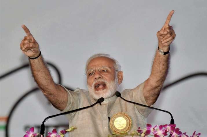 Prime Minister Narendra Modi speaks during 'Satyagrah Se