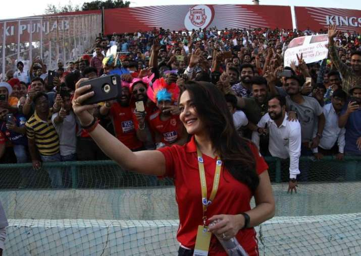 India Tv - KXIP owner Preity Zinta clicks selfie with fans at Mohali