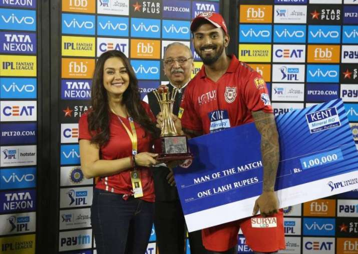 India Tv - KXIP owner Preity Zinta with opener KL Rahul