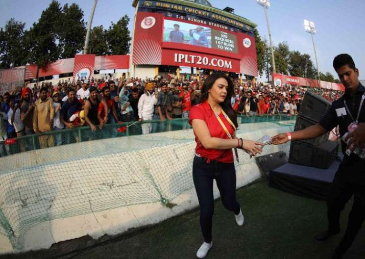 India Tv - KXIP owner Preity Zinta enjoys the match at the PCA Stadium