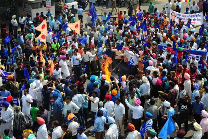 Members of Dalit community stage a protest during 'Bharat