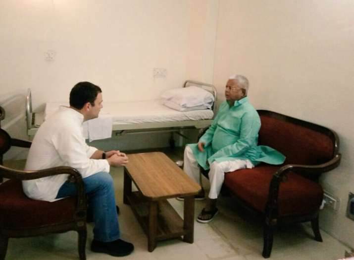 India Tv - Rahul Gandhi met Lalu Yadav before he was discharged from AIIMS.