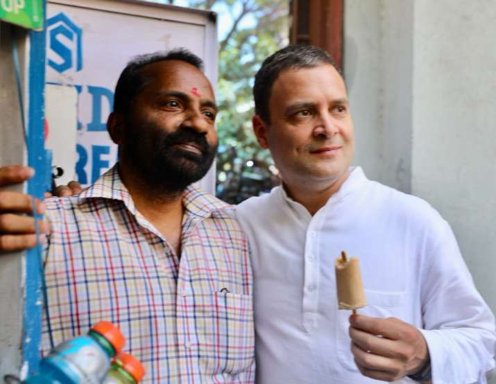 India Tv - Congress President Rahul Gandhi stops by for a post-lunch kulfi in Bengaluru.
