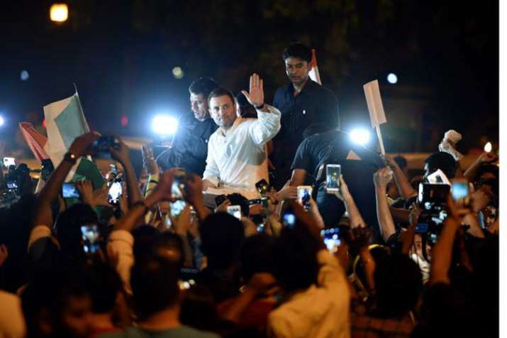 Rahul Gandhi holds midnight candlelight march along with