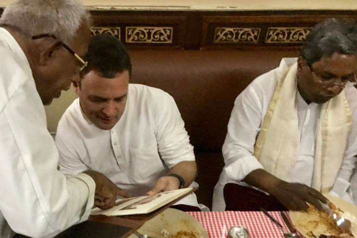 India Tv - Congress President Rahul Gandhi stops for lunch at Koshys, during his day-out in Bengaluru.