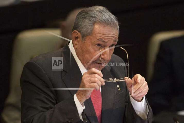 Cuba's former president Raul Castro delivers a speech,
