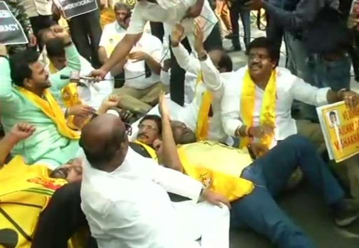 Andhra special status: TDP MPs detained for staging