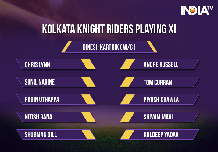 India Tv - Kolkata Knight Riders playing xi against Rajasthan Royals in match 15 of IPL 2018
