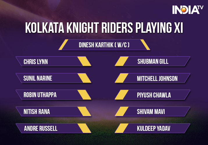 India Tv - Kolkata Knight Riders Playing XI against Royal Challengers Bangalore in match 29 of IPL 2018