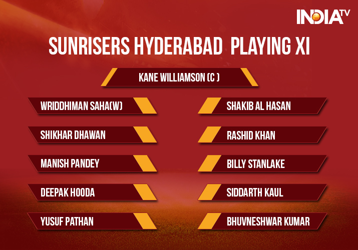 India Tv - Sunrisers Hyderabad Playing XI for Match 10 vs Kolkata Knight Riders